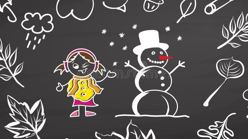 Rêves d'hiver Fille et bonhomme de neige sur le tableau illustration stock