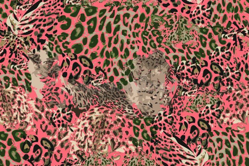 Rêves de safari Fond grunge avec des taches de léopard illustration stock