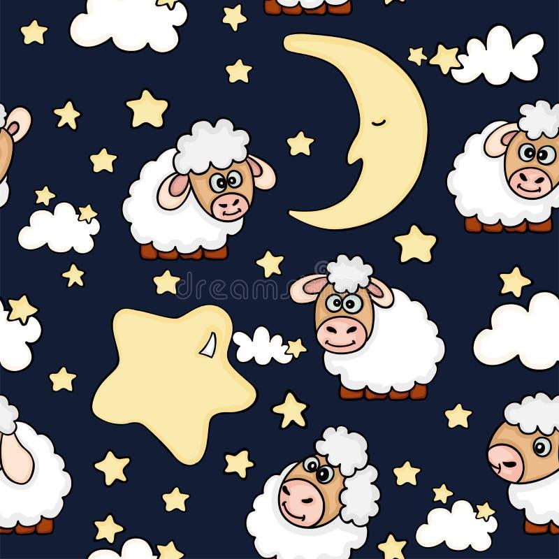 Rêves sans couture de nuit avec des moutons illustration libre de droits