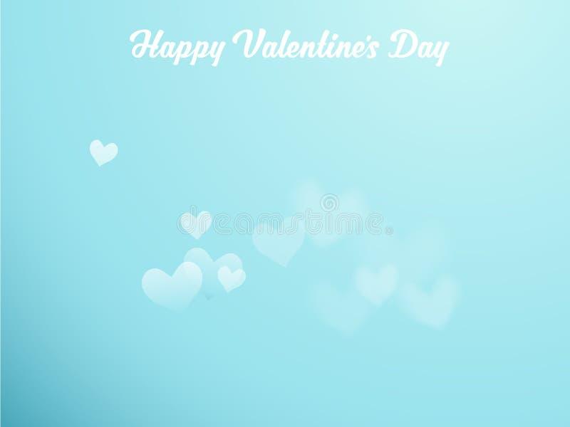 Rêvez avec des coeurs sur le ciel bleu et les souhaits heureux de jour du ` s de Valentine illustration stock