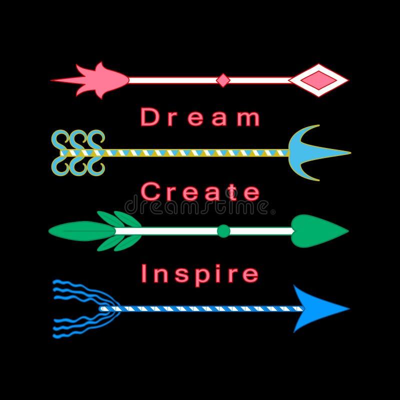 Rêvez, créez, inspirez les flèches tribales colorées de mots de motivation de citation d'inspiration de concept réglées illustration libre de droits