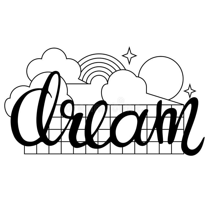 'Rêvez' la conception calligraphique de mot avec les nuages, le soleil, l'arc-en-ciel et les étoiles dans le style linéaire illustration libre de droits