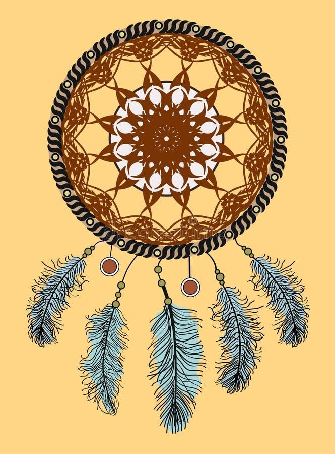 Rêvez le receveur Talisman indien indigène tiré par la main avec des plumes Conception ethnique, boho chic, symbole tribal illustration de vecteur