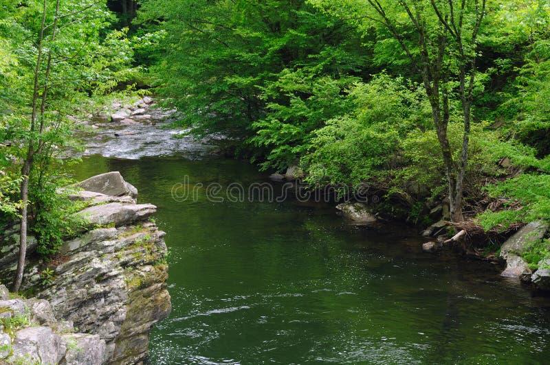 Río ahumado escénico de las montañas imagen de archivo