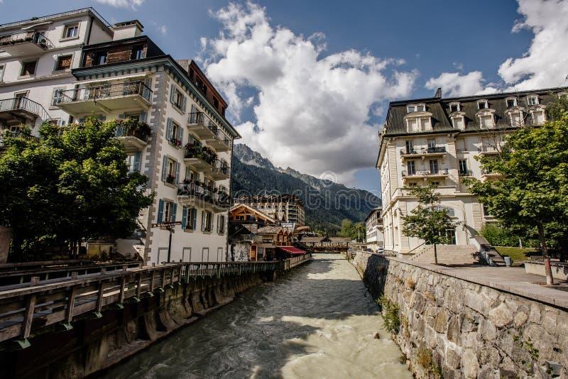 Río Arve en Chamonix-Mont-Blanc foto de archivo libre de regalías