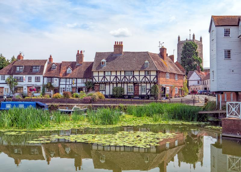 Río Avon en Tewkesbury, Inglaterra imagen de archivo