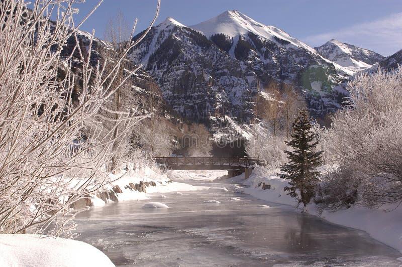 Río congelado fotografía de archivo libre de regalías