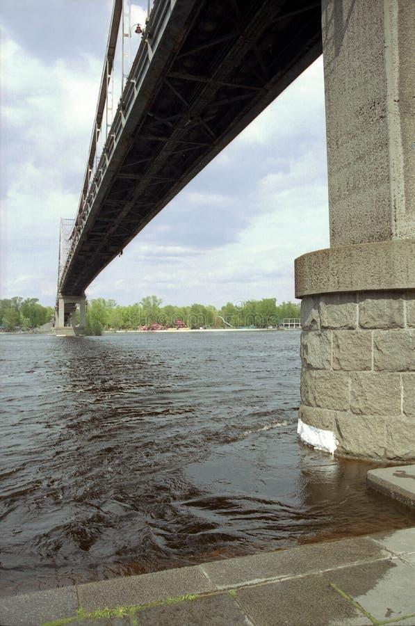 Río de Dnepr, puente, Kiev ucrania imagen de archivo
