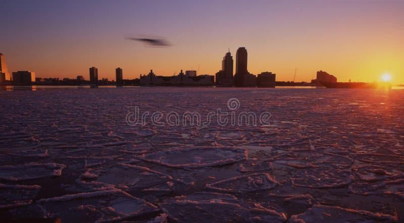 Río de hudson congelado, Nueva York imagenes de archivo