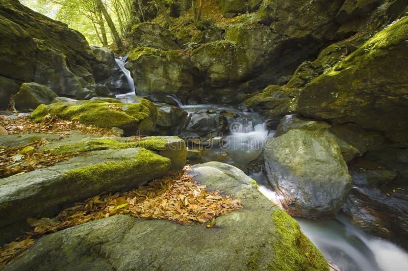 Río de la montaña con las rocas y la cascada fotografía de archivo libre de regalías
