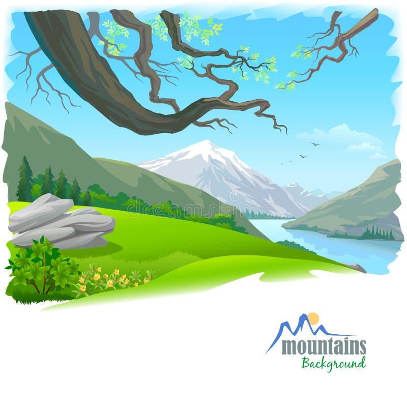 Río de la montaña de la nieve y del agua dulce stock de ilustración
