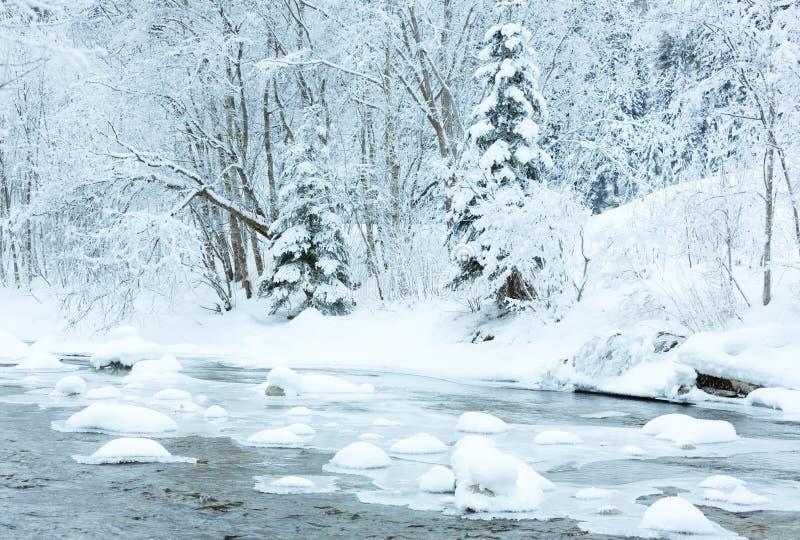 Río de la montaña del invierno imagen de archivo libre de regalías