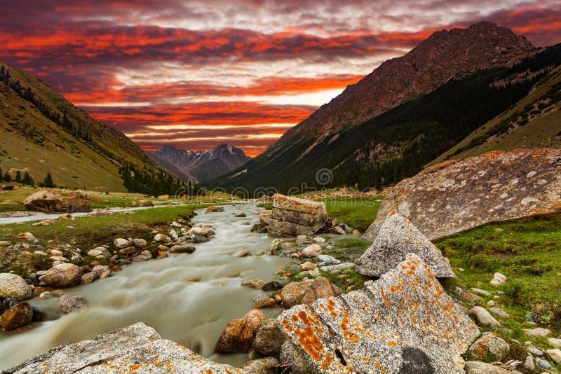 Río de la montaña en la garganta en la puesta del sol Opinión panorámica de Alpes fotografía de archivo