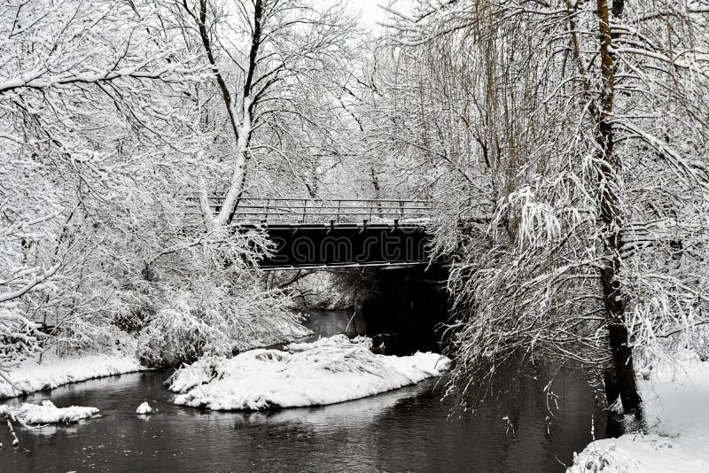 Río de la roca en nieve del invierno con el puente - Genoa City, WI fotografía de archivo libre de regalías