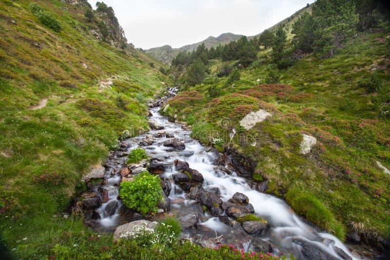 Río de Meners en Ransol los Pirineos de Andorra fotografía de archivo