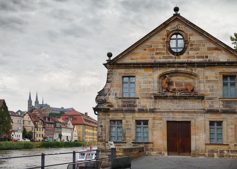 Río de Quay Regnitz en Bamberg imagen de archivo