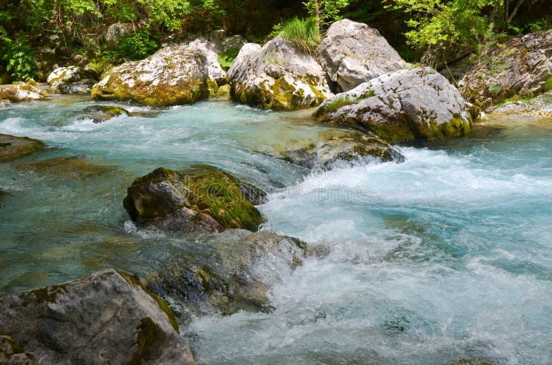 Río de Valbona en Albania fotos de archivo