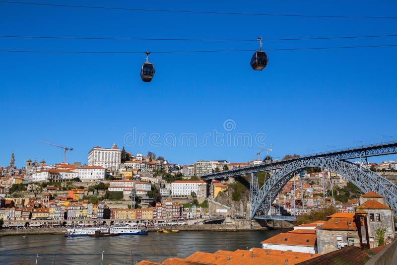 Río del Duero en el puente de Oporto y de Dom Luis I, Portugal Naturaleza fotografía de archivo