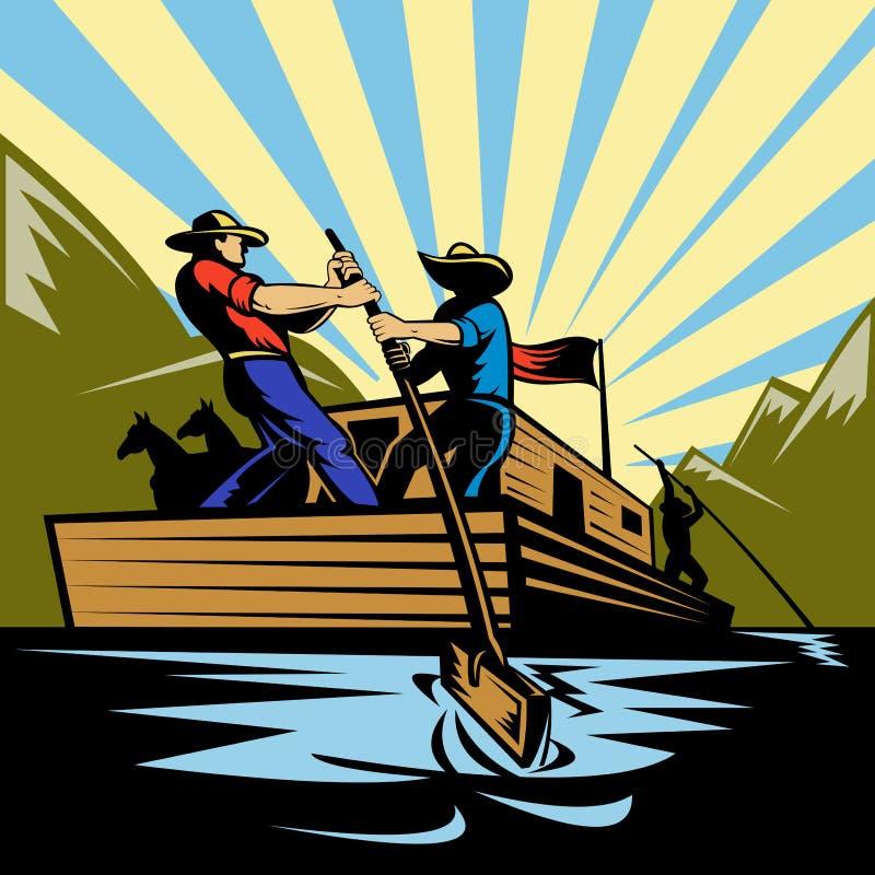 Río del flatboat del manejo del vaquero stock de ilustración