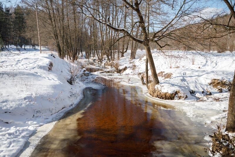 Río del paisaje del invierno imágenes de archivo libres de regalías