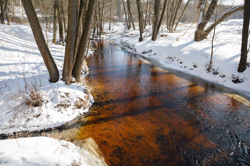 Río del paisaje del invierno imagenes de archivo
