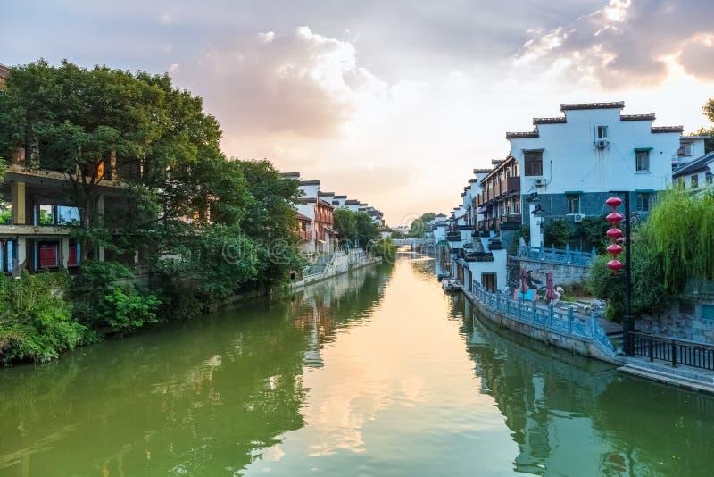 Río del qinhuai de Nanjing en puesta del sol foto de archivo libre de regalías