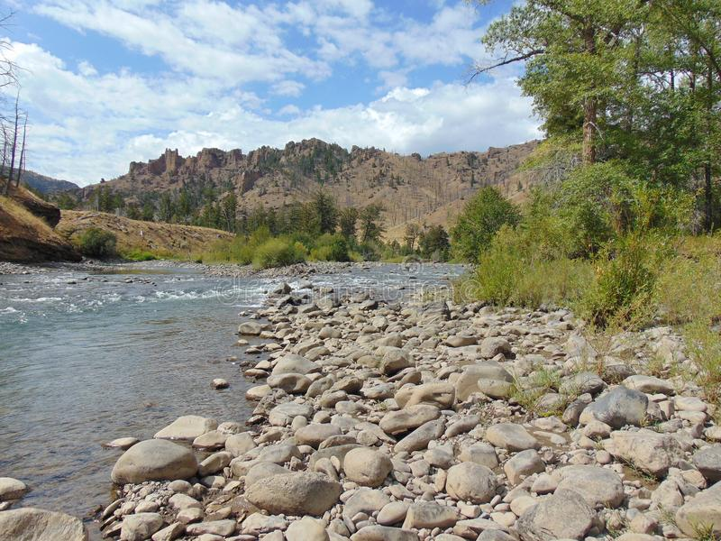 Río del Shoshone en Cody Wyoming fotos de archivo