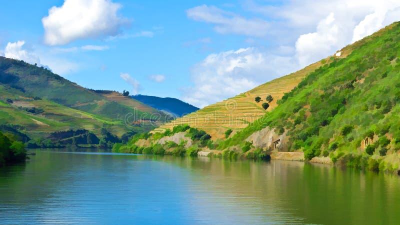 Río el Duero en Portugal ilustración del vector