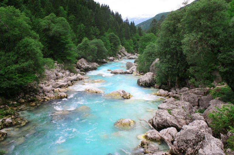 Río en Bovec, Eslovenia de SoÄa. fotografía de archivo libre de regalías