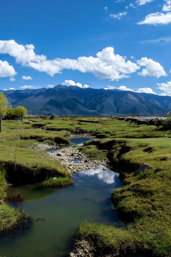 Río en la meseta de Tíbet fotos de archivo