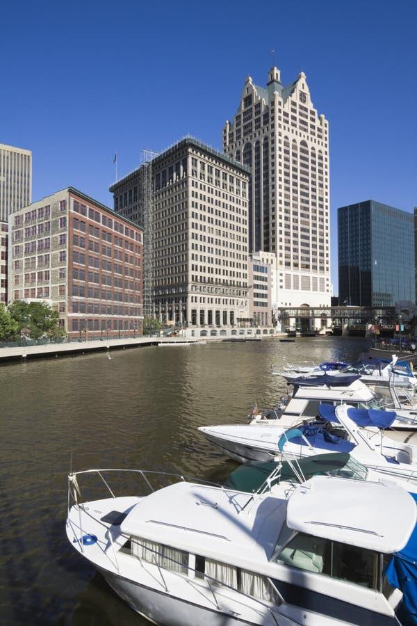 Río en Milwaukee imagen de archivo