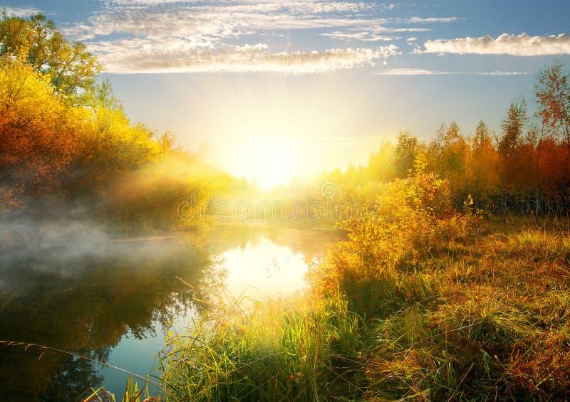 Río en otoño foto de archivo