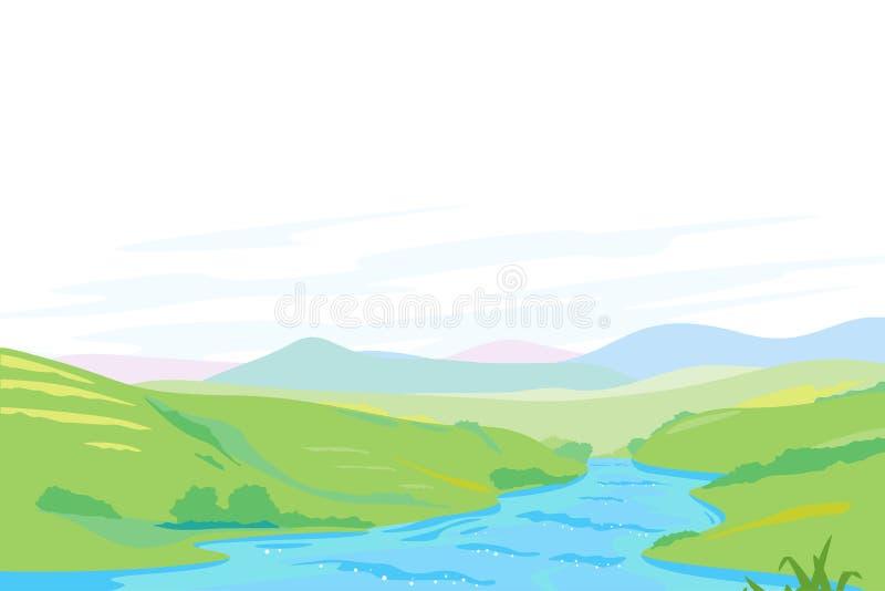 Río en panorama del valle verde stock de ilustración