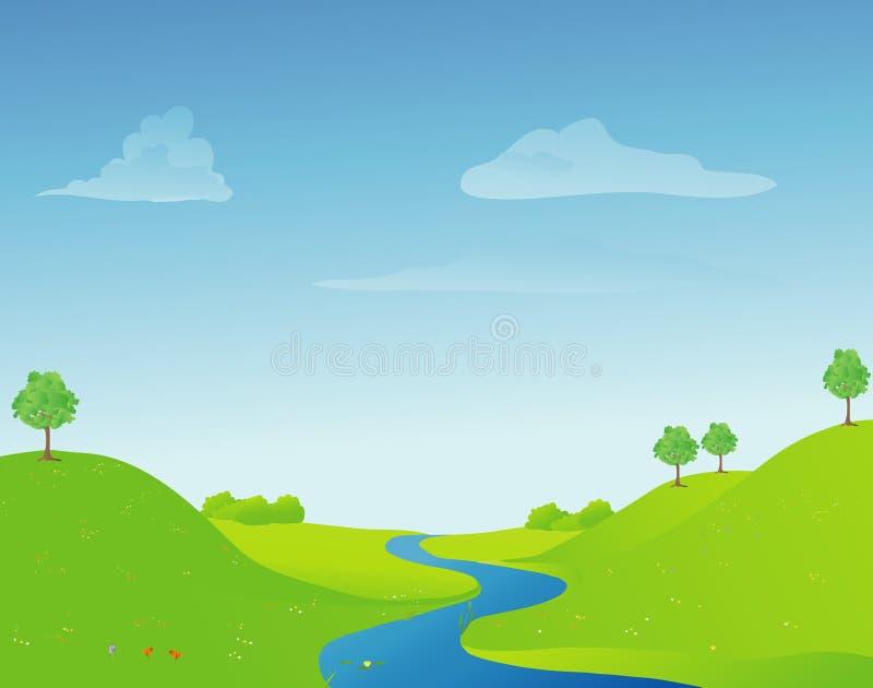 Río en primavera ilustración del vector