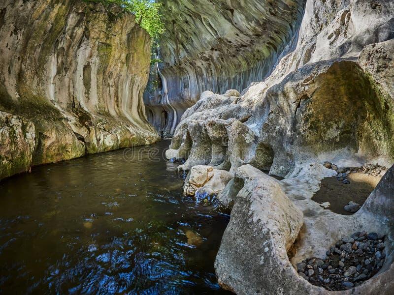 Río en una garganta salvaje Garganta de Cheile Banitei, Rumania imagen de archivo