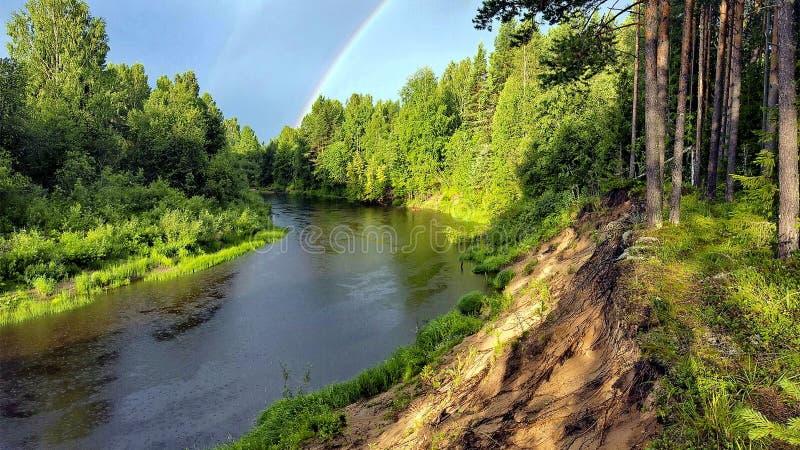 Río entre el taiga Otoño de oro Verano indio fotos de archivo