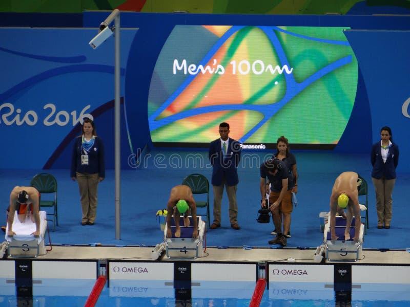 Río 2016 - estadio acuático olímpico foto de archivo