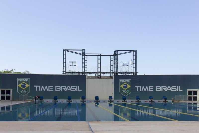 Río 2016 lugares olímpicos: Maria Lenk Aquatic Center fotografía de archivo