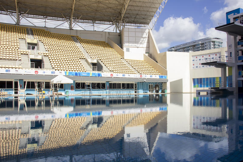 Río 2016 lugares olímpicos: Maria Lenk Aquatic Center fotos de archivo