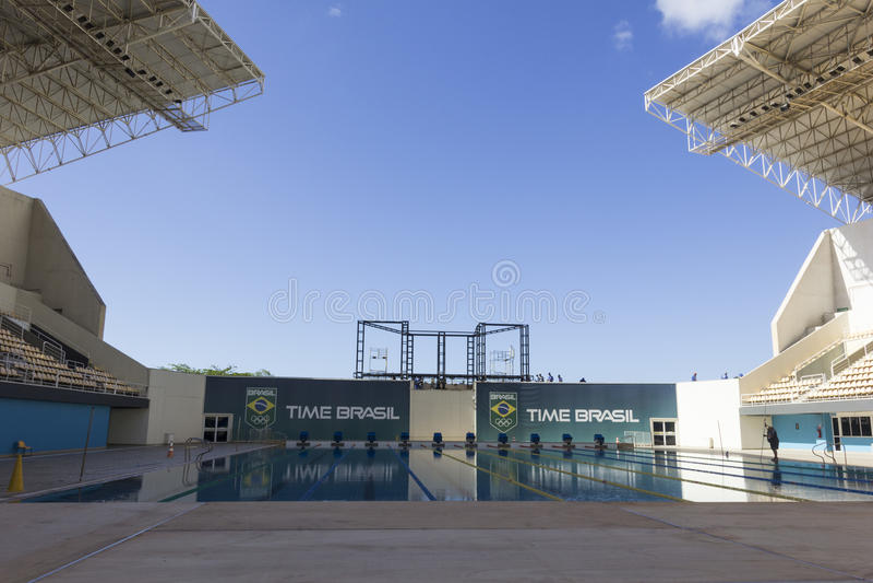 Río 2016 lugares olímpicos: Maria Lenk Aquatic Center imagen de archivo