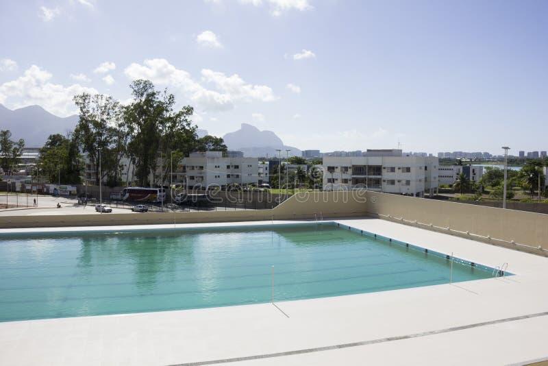 Río 2016 lugares olímpicos: Maria Lenk Aquatic Center fotos de archivo libres de regalías