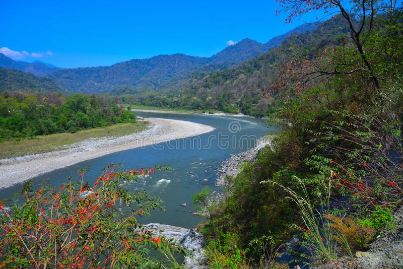 Río Manas; Assam, la India; Panbang, Bhután fotografía de archivo