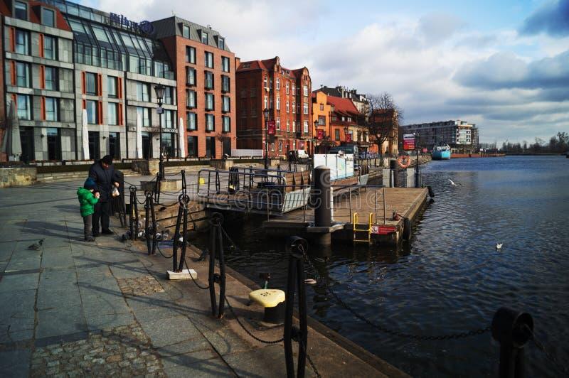 Río Quay en Gdansk imagenes de archivo