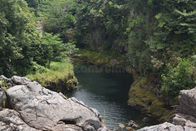 Río que corre sobre rocas y piedras ásperas fotografía de archivo libre de regalías