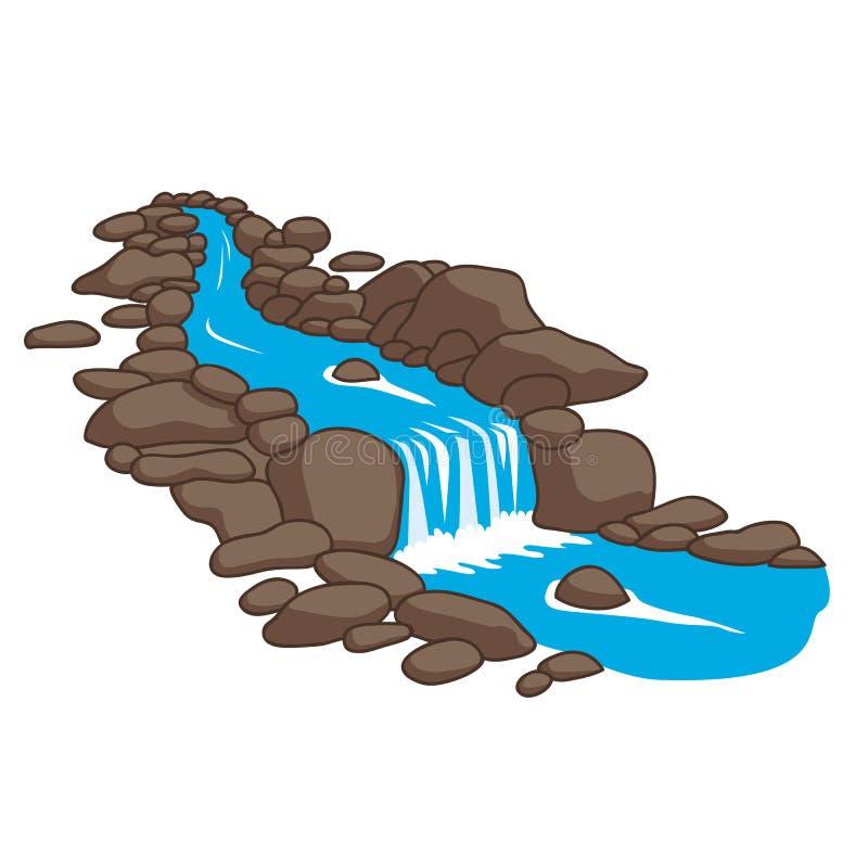 Río que fluye abajo de corriente a través del piedras ilustración del vector