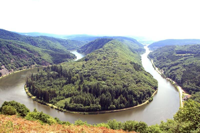 Río Saar De Saarschleife Foto de archivo libre de regalías