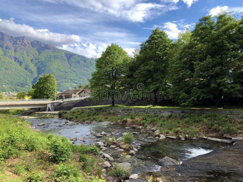 Río Sementina o fiume Sementina, Monte Carasso imagen de archivo