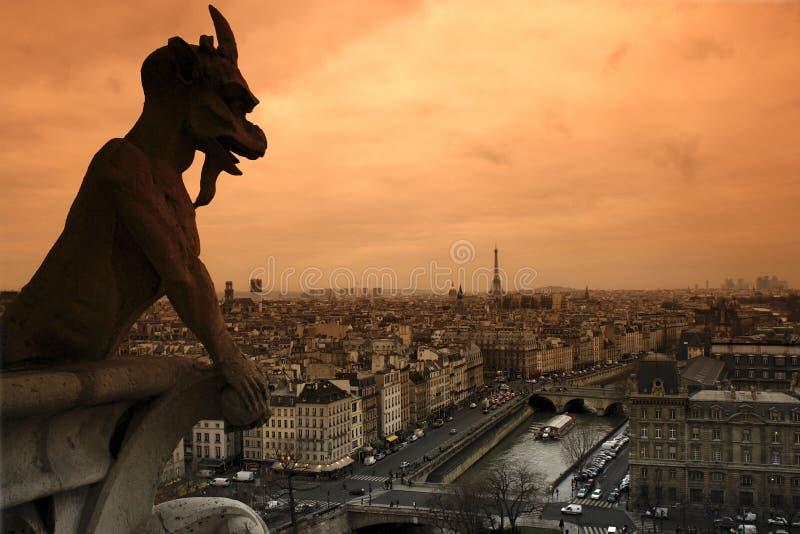 río Sena del gargoyle y en París foto de archivo