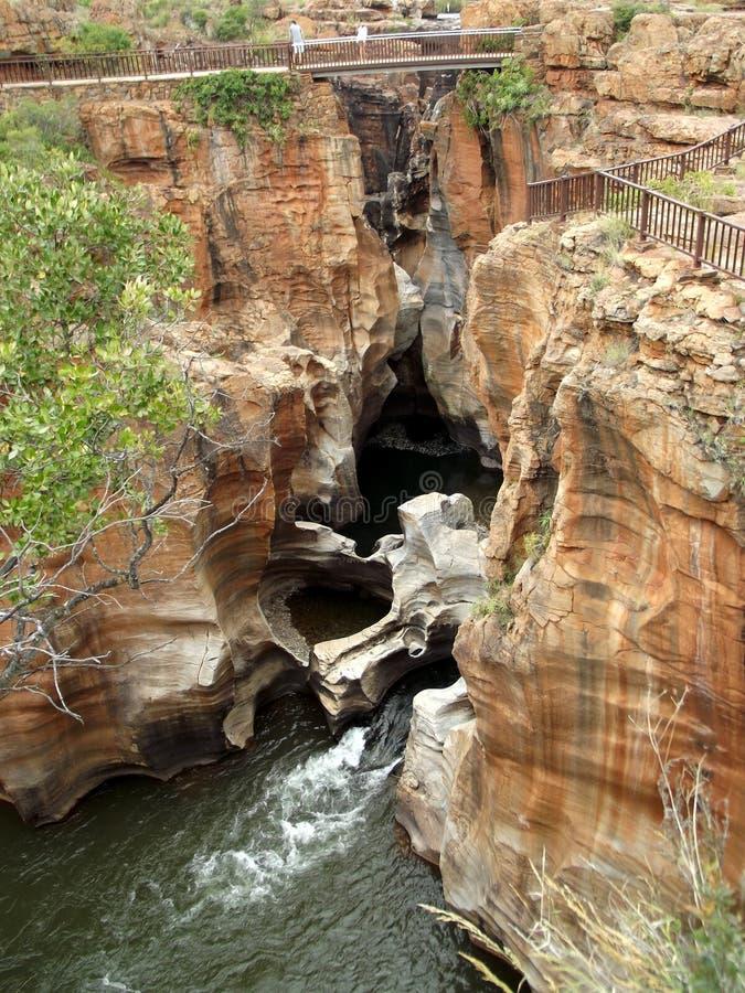 Río Suráfrica de Blyde de los agujeros de la suerte del ` s de Bourke imagenes de archivo