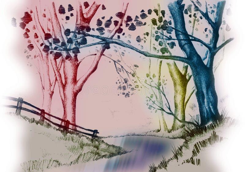 Río y árboles stock de ilustración